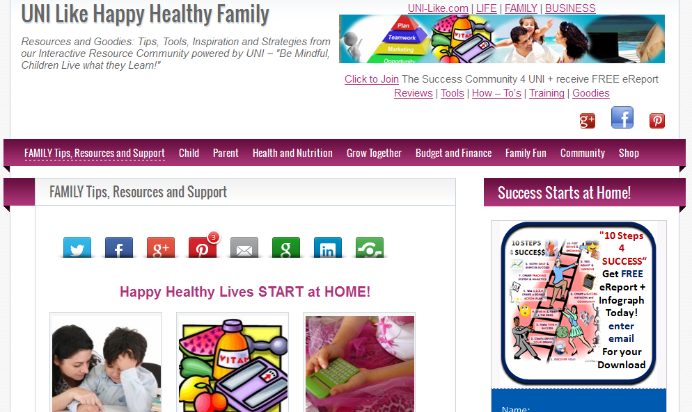 UNI Like Happy Healthy FAMILY website created by UNI marketing Media Solutions http://uni-likesolutions.com